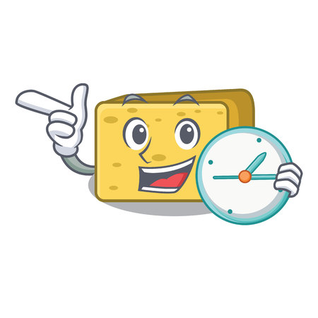 With clock character fresh gouda cheese vector illustration Çizim