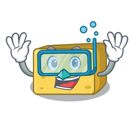 Diving character fresh gouda cheese vector illustration