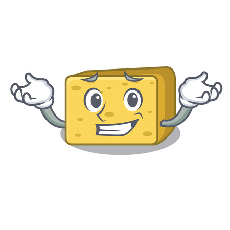 Grinning character fresh gouda cheese vector illustration