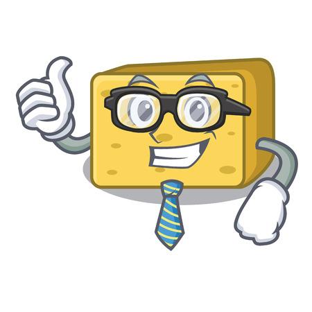 Businessman character fresh gouda cheese vector illustration