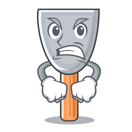 Angry cartoon putty knife in plaster vector illustration