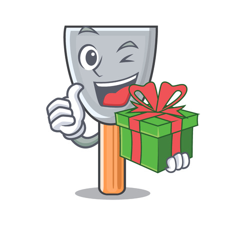 With gift cartoon putty knife in plaster vector illustration