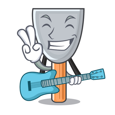 With guitar cartoon putty knife in plaster vector illustration Иллюстрация