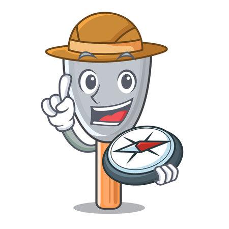 Explorer cartoon putty knife in plaster vector illustration