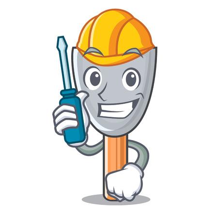 Automotive vintage putty knife on mascot vector illustration Illustration