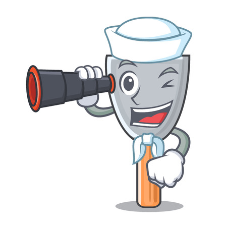 Sailor with binocular cartoon putty knife in plaster vector illustration