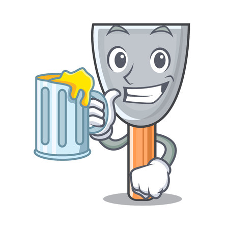 With juice cartoon putty knife in plaster vector illustration