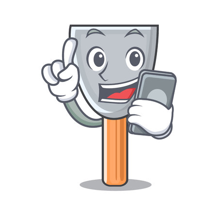 With phone putty blade character cartoon vector illustration Illusztráció