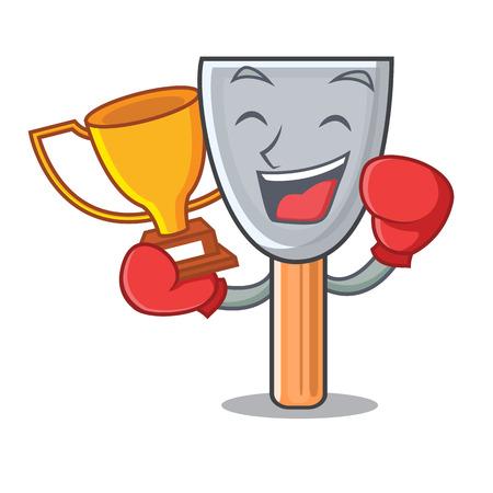Boxing winner vintage putty knife on mascot vector illustration