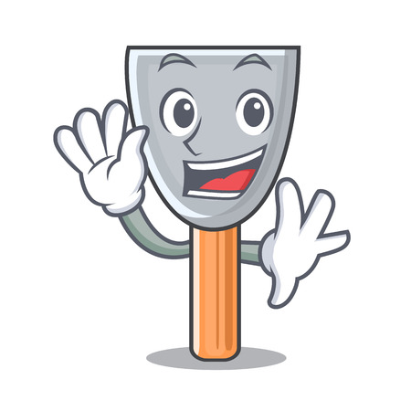 Waving character putty knife isolated vector illustration