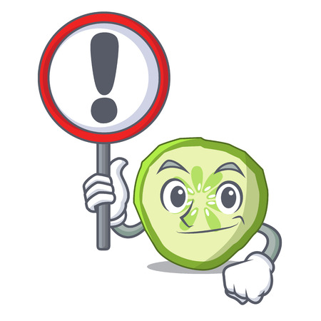 With sign fresh slice cucumber on character cartoon vector illustration