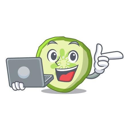 With laptop fresh slice cucumber on character cartoon vector illustration Çizim