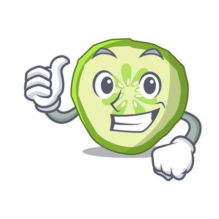 Thumbs up sliced cucumber hamburger ingredient character cartoon vector illustration Illustration