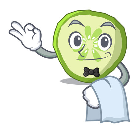 Waiter mascot slice cucumber to cook vegetable vector illustration