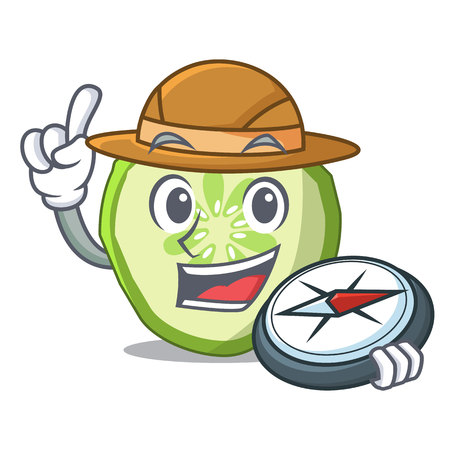 Explorer mascot slice cucumber to cook vegetable vector illustration