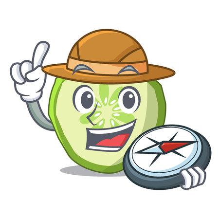 Explorer mascot slice cucumber to cook vegetable vector illustration Banque d'images - 111755472