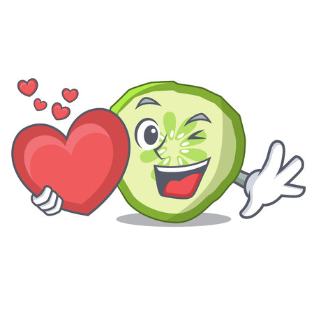 With heart mascot slice cucumber to cook vegetable vector illustration