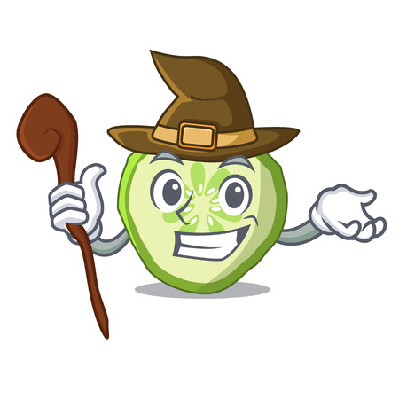 Witch mascot slice cucumber to cook vegetable vector illustration Illusztráció