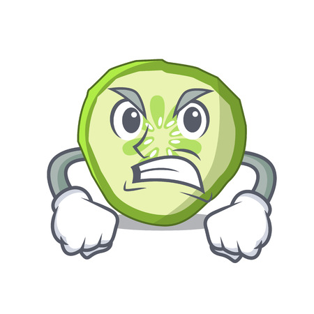 Angry mascot slice cucumber to cook vegetable vector illustration