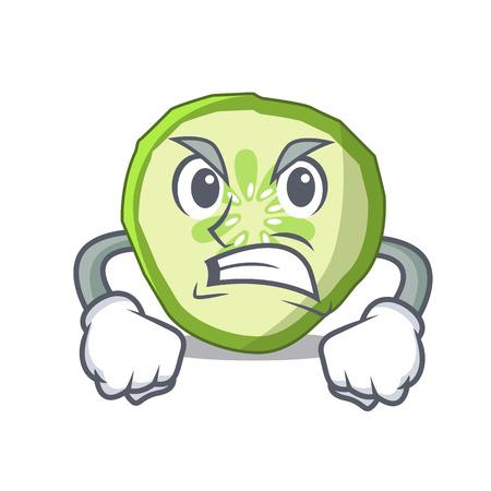 Concombre de tranche de mascotte en colère pour faire cuire l'illustration vectorielle de légumes