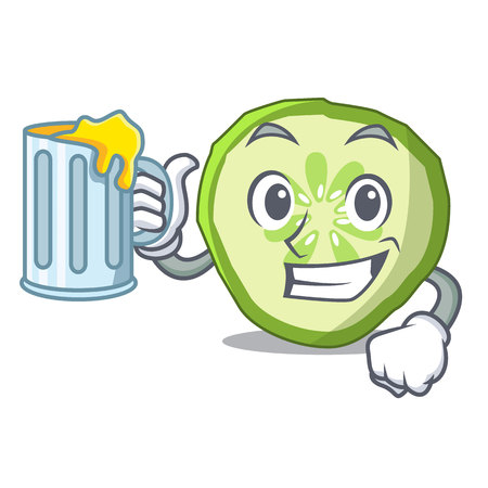With juice mascot slice cucumber to cook vegetable vector illustration