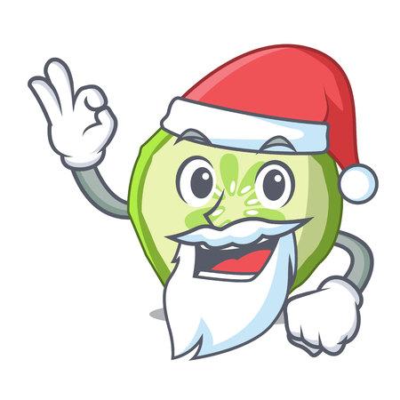 Santa vegetable organic food slice cucumber mascot vector illustration