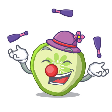 Juggling vegetable organic food slice cucumber mascot vector illustration Illustration