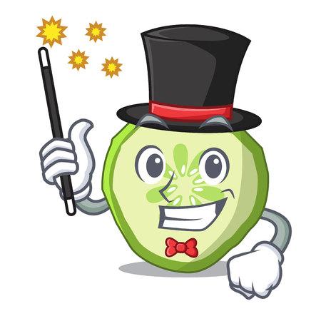 Magician vegetable organic food slice cucumber mascot vector illustration
