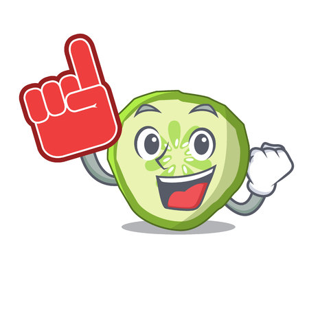 Foam finger vegetable organic food slice cucumber mascot vector illustration