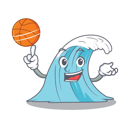 With basketball wave character cartoon style vector illustration