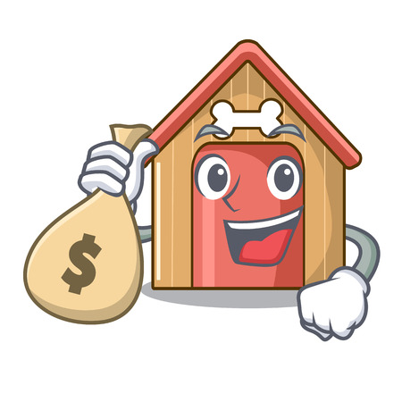 With money bag cartoon funny dog house with dish vector illustration