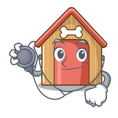 Doctor cartoon funny dog house with dish vector illustration Standard-Bild - 111755520