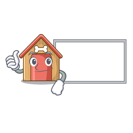 Thumbs up with board cartoon funny dog house with dish vector illustration