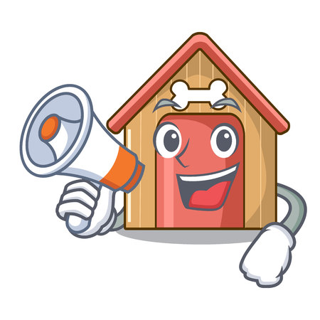 With megaphone cartoon funny dog house with dish vector illustration