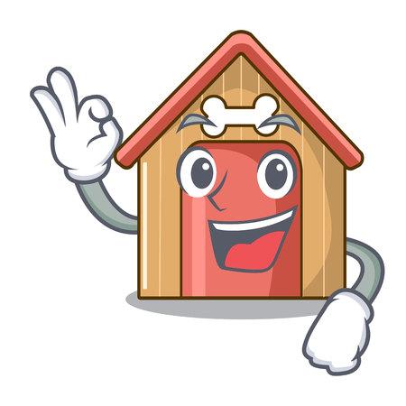 Okay cartoon dog house and bone isolated vector illustration