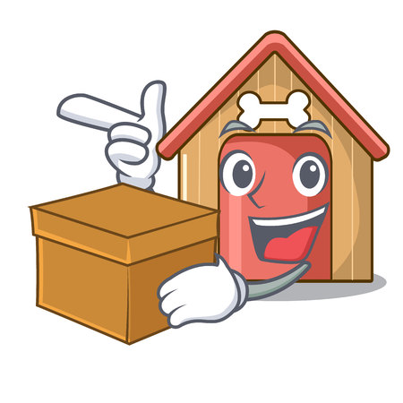 With box cartoon dog house and bone isolated vector illustration Çizim