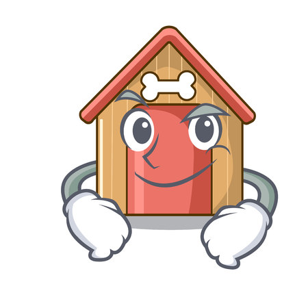Smirking cartoon dog house and bone isolated vector illustration