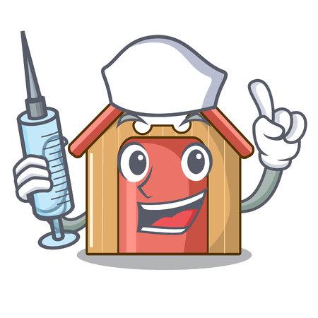 Nurse cartoon dog house and bone isolated vector illustration Illustration