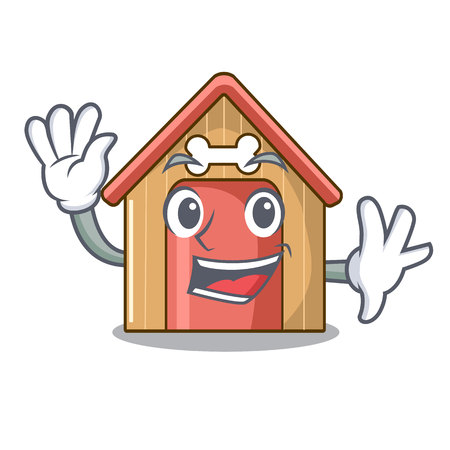 Waving cartoon dog house and bone isolated vector illustration