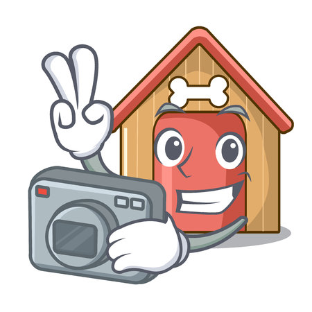 Photographer dog house isolated on mascot cartoon vector illustration Illustration