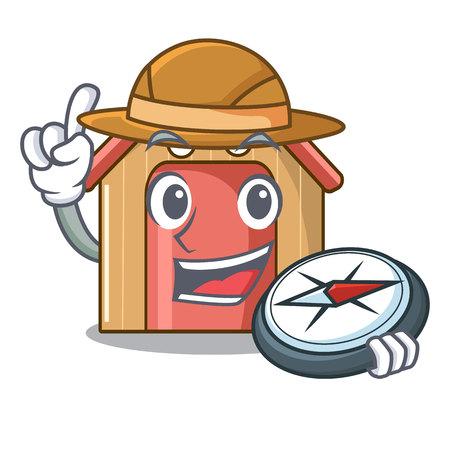 Explorer dog house isolated on mascot cartoon vector illustration Illustration