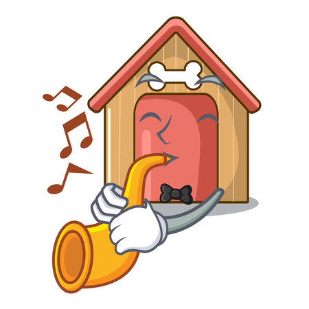 With trumpet dog house isolated on mascot cartoon vector illustration Çizim
