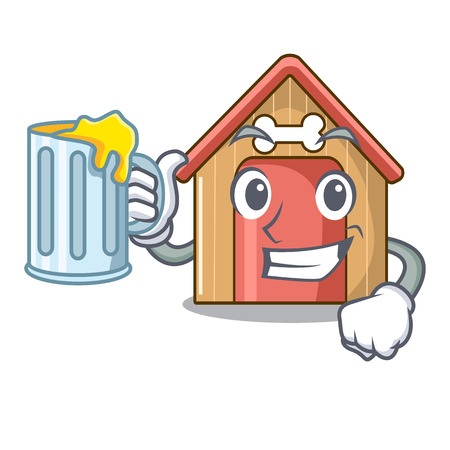 With juice dog house isolated on mascot cartoon vector illustration