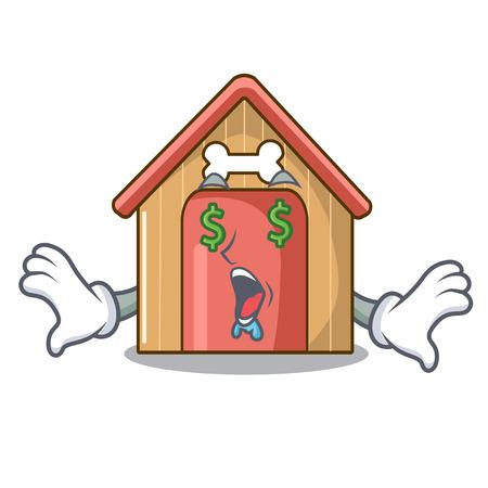 Money eye mascot dog house of wood home vector illustration Vettoriali