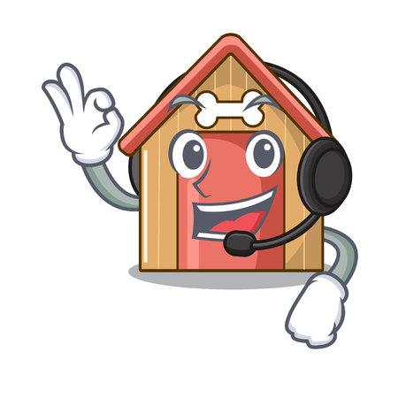 With headphone mascot dog house of wood home vector illustration Standard-Bild - 111755591