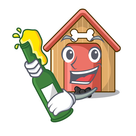 With beer mascot dog house of wood home vector illustration