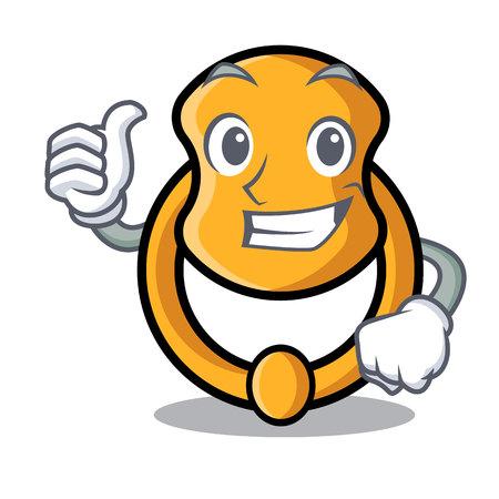 Thumbs up metal door knocker on character cartoon vector illustration
