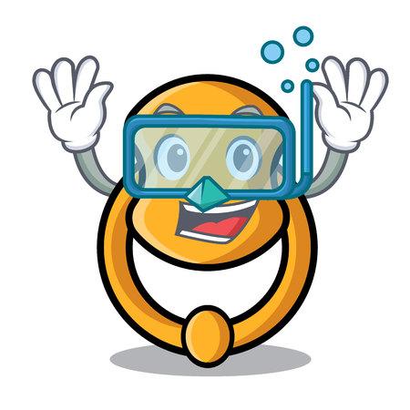 Diving metal door knocker on character cartoon vector illustration