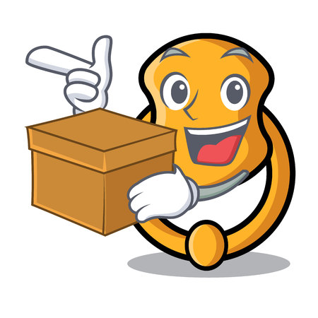 With box metal door knocker on character cartoon vector illustration