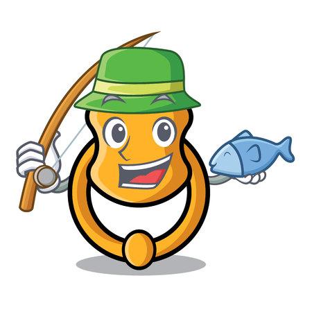 Ilustración de vector de dibujos animados de mascota de aldaba de puerta de moda elegante de pesca Ilustración de vector